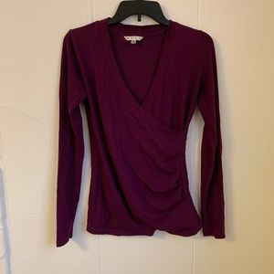 Cabi Maroon Crossover Flattering Blouse Size Small